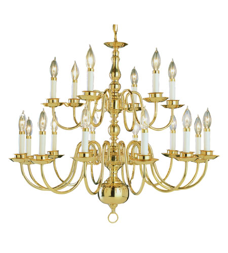 Trans Globe Lighting 1018-1-PB Williamsburg 18 Light 32 inch Polished Brass Chandelier Ceiling Light photo