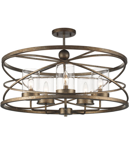 Trans Globe Lighting 10523-ASL Altadena 5 Light 26 inch Antique Silver Leaf Semiflush Ceiling Light photo thumbnail