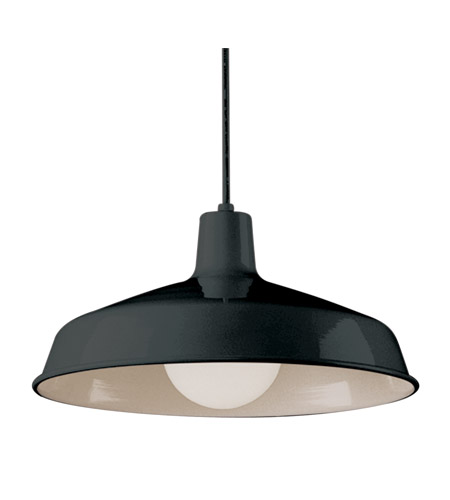 Trans Globe Lighting 1100-BK Vintage 1 Light 16 inch Black Pendant Ceiling Light in Black Metal Downward Bell photo