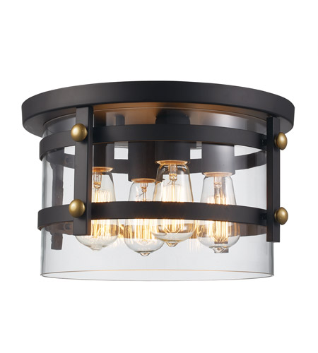 Trans Globe Lighting 14211-ROB/AG Anderson 4 Light 14 inch Rubbed Oil Bronze and Antique Gold Flushmount Ceiling Light photo thumbnail