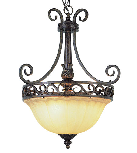 Trans Globe Lighting Sights Of Seville 3 Light Pendant in Dark Bronze W/ Gold 2283-DBG photo