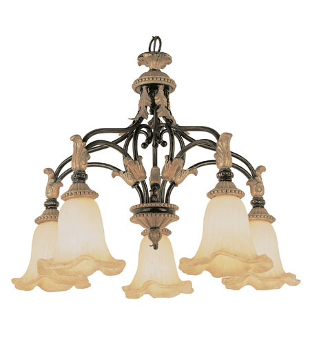 Trans Globe Lighting Impressions Of Rome 5 Light Chandelier in Ebony Gold 2335-EBG photo
