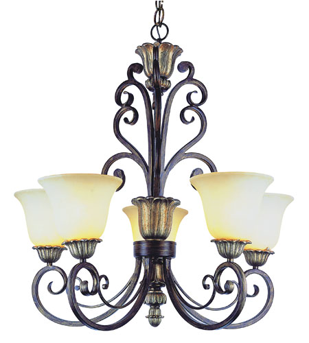 Trans Globe Lighting Sights Of Seville 5 Light Chandelier in Ebony Gold 2575-EBG photo