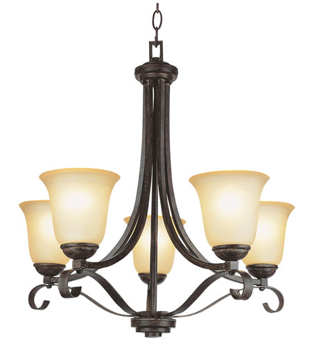 Trans Globe Lighting New Century 5 Light Chandelier in Antique Brown Rust 3685-ABR photo