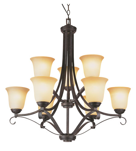 Trans Globe Lighting New Century 9 Light Chandelier in Antique Brown Rust 3687-ABR photo