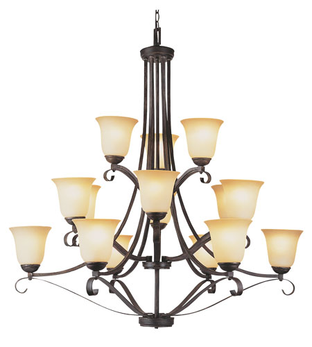 Trans Globe Lighting New Century 15 Light Chandelier in Antique Brown Rust 3688-ABR photo
