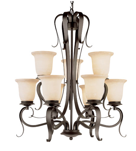 Trans Globe Lighting New Century 9 Light Chandelier in Black 3999-BK photo