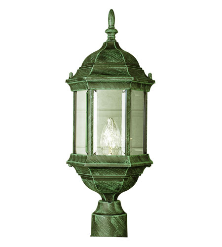trans globe alicante 1 light post lantern in verde green 4352 vg