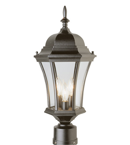 Trans Globe Lighting 4504-BK Summerville 3 Light 21 inch Black Post Lantern photo