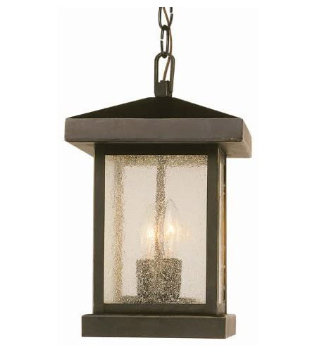 Trans Globe Lighting 45643-WB Traditional Seeded 2 Light 8 inch Weathered Bronze Outdoor Hanging Lantern photo