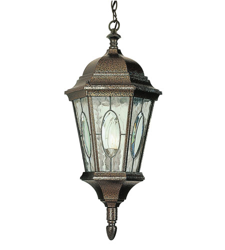 Trans Globe Lighting 4717-BRZ Watered Windows 1 Light 10 inch Brown Outdoor Hanging Lantern photo