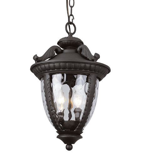 Trans Globe Lighting Villa 2 Light Outdoor Hanging Lantern in Black 5275-BK photo