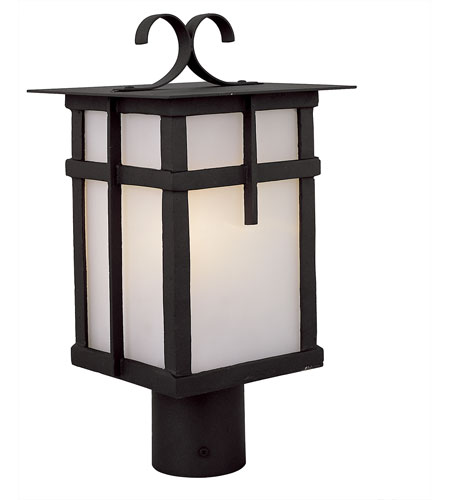 Trans Globe Lighting Craftsman 1 Light Post Lantern in Black 5285-BK photo