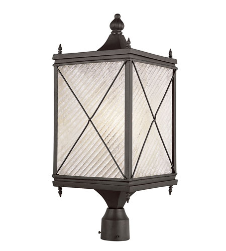 Trans Globe Lighting Estate 1 Light Post Lantern in Black 5925-BK photo