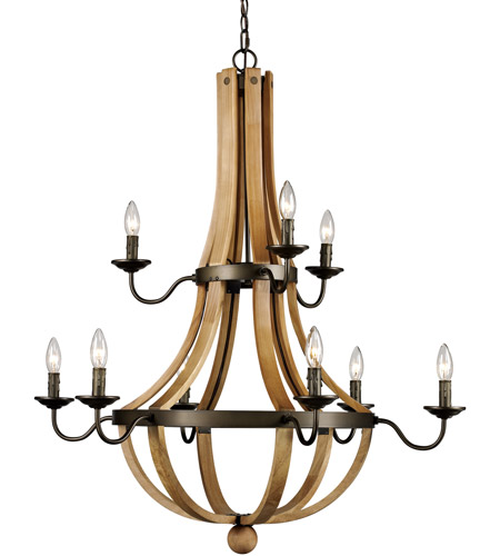 Trans Globe Lighting 70609 Woodland 9 Light 34 inch Weathered Bronze Chandelier Ceiling Light photo