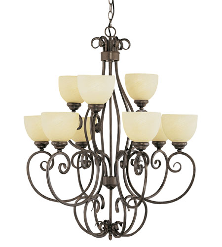 Trans Globe Lighting New Century 9 Light Chandelier in Antique Brown Rust 7218-ABR photo