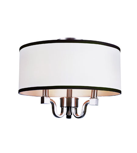 Trans Globe Lighting Modern Meets Traditional 3 Light Flush Mount in Brushed Nickel 7970-BN photo