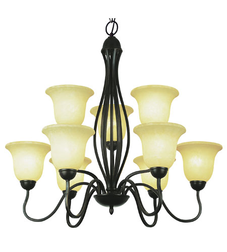 Trans Globe Lighting New Century 9 Light Chandelier in Rubbed Oil Bronze 8169-ROB photo