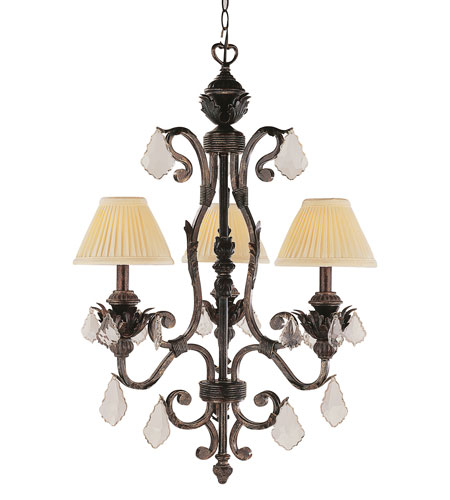 Trans Globe Lighting Crystal Flair 3 Light Chandelier in Enriched Iron 8273-EI photo