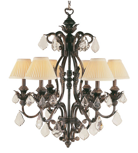 Trans Globe Lighting Crystal Flair 6 Light Chandelier in Enriched Iron 8276-EI photo