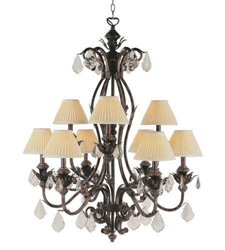 Trans Globe Lighting Crystal Flair 9 Light Chandelier in Enriched Iron 8279-EI photo