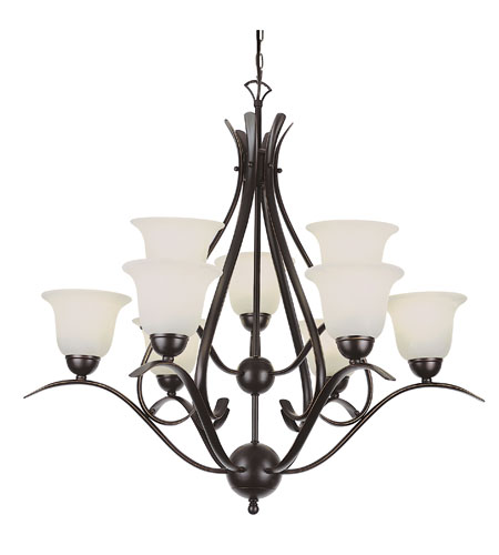 Trans Globe Lighting Contemporary 9 Light Chandelier in Rubbed Oil Bronze 9289-ROB photo