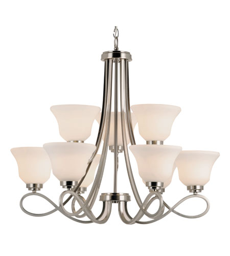 Trans Globe Lighting Contemporary 9 Light Chandelier in Brushed Nickel 9559-BN photo