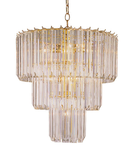 Trans Globe Lighting 9647-PB Tiered 9 Light 20 inch Polished Brass Chandelier Ceiling Light in Clear Beveled Acrylic tapers photo