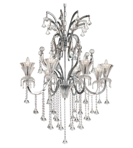 Trans Globe Trumpet Vine 8 Light Chandelier in Polished Chrome HF-8-PC photo