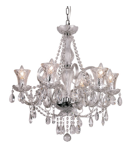 Trans Globe Lighting Traditional Crystal 6 Light Chandelier in Polished Chrome HX-6 photo