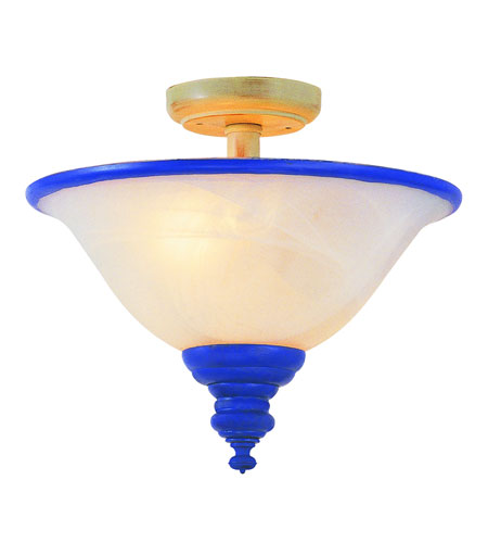 Trans Globe Lighting Kids Korner 2 Light Semi-Flush Mount in Blue KFL-101-BL photo