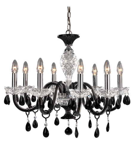 Trans Globe Lighting Versailles 8 Light Chandelier in Black and Clear Crystal LIBERTY-8 photo