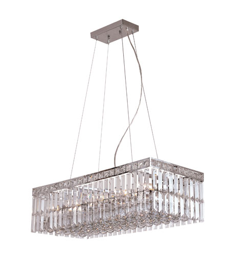 Trans Globe Lighting Contemporary Crystal 10 Light Pendant in Polished Chrome MDN-1052 photo