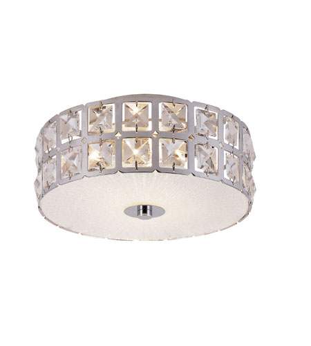 Trans Globe Lighting MDN-1107 Contemporary Crystal 2 Light 11 inch Polished Chrome Flushmount Ceiling Light photo