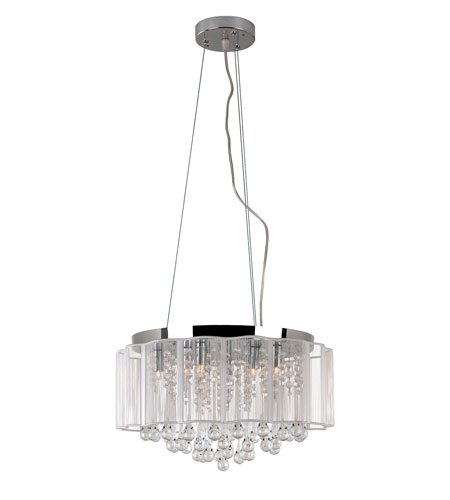 Trans Globe Lighting MDN-1139 Veiled 8 Light 17 inch Polished Chrome Pendant Ceiling Light photo