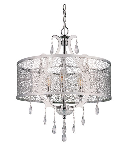 Trans Globe Lighting Contemporary 3 Light Chandelier in Polished Chrome PND-612-PC photo