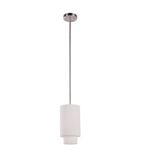 Trans Globe Lighting PND-800-IV Tiered 1 Light 6 inch Brushed Nickel Pendant Ceiling Light in Ivory Fabric Drum - Double Shade photo