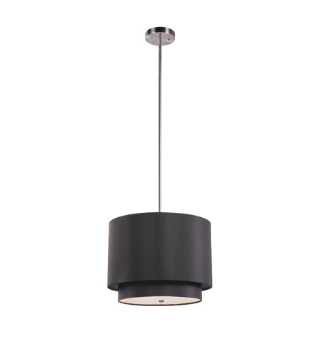 Trans Globe Lighting PND-801-BK Tiered 1 Light 15 inch Brushed Nickel Pendant Ceiling Light in Black Fabric Drum - Double Shade photo