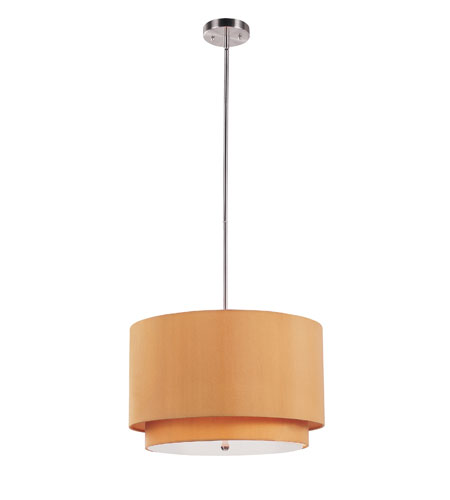 Trans Globe Lighting PND-802-MST Tiered 3 Light 18 inch Brushed Nickel Pendant Ceiling Light in Mustard Fabric Drum - Double Shade photo