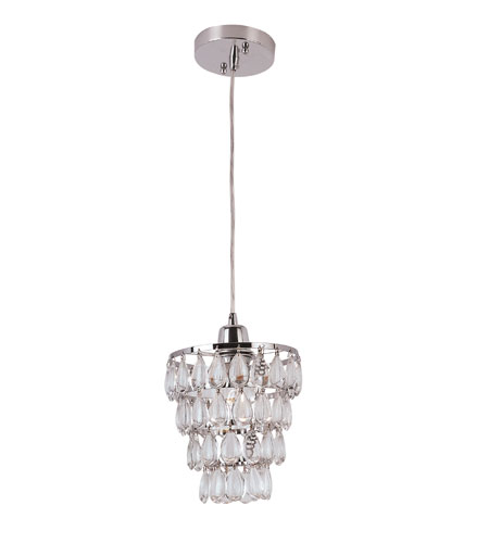 Trans Globe Lighting Contemporary Crystal 1 Light Mini Pendant in Polished Chrome PND-920 photo
