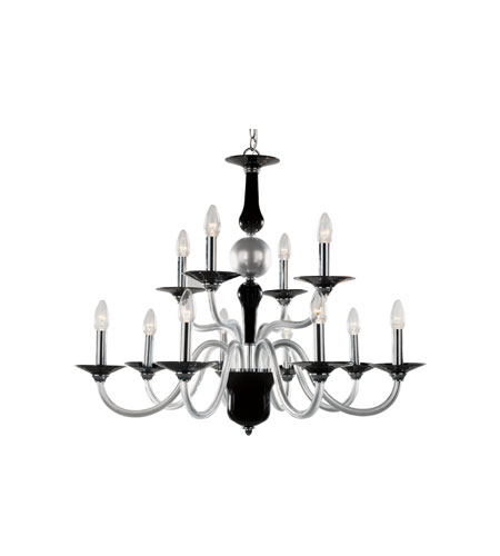 Trans Globe Lighting Versailles 12 Light Chandelier in Black/Silver BIANCA-12-BK/SL photo