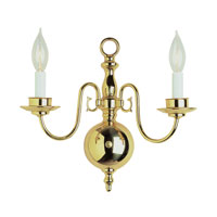 Williamsburg 2 Light 14 inch Polished Brass Wall Sconce Wall Light