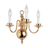 Williamsburg 3 Light 14 inch Polished Brass Wall Sconce Wall Light