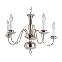 Williamsburg 5 Light 23 inch Brushed Nickel Chandelier Ceiling Light