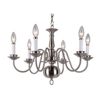 Williamsburg 6 Light 24 inch Brushed Nickel Chandelier Ceiling Light