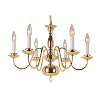 Williamsburg 6 Light 24 inch Polished Brass Chandelier Ceiling Light
