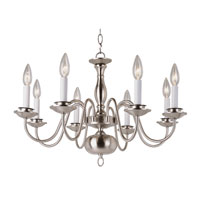 Trans Globe Williamsburg 8 Light Chandelier in Brushed Nickel 1008-1-BN