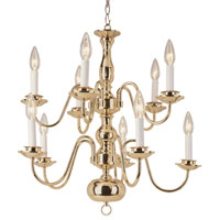 Trans Globe Williamsburg 10 Light Chandelier in Polished Brass 1010-1-PB