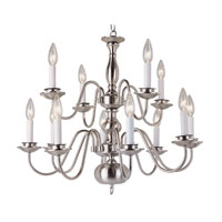 Trans Globe Williamsburg 12 Light Chandelier in Brushed Nickel 1012-1-BN