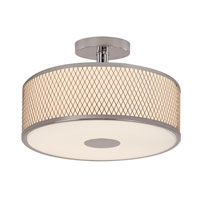 Diamond Grill 3 Light 16 inch Polished Chrome Semi-Flush Mount Ceiling Light